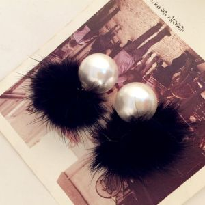 E-3332 korea fashion feather warm big pearl 3 colors stud ear Earring