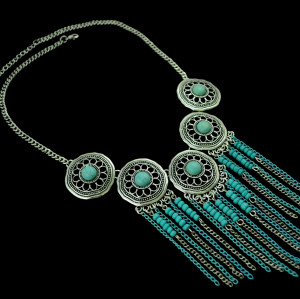 N-5252   Bohemian style Silver Metal Hollow Out Flower Red turquoise Multi layer Tassels necklace