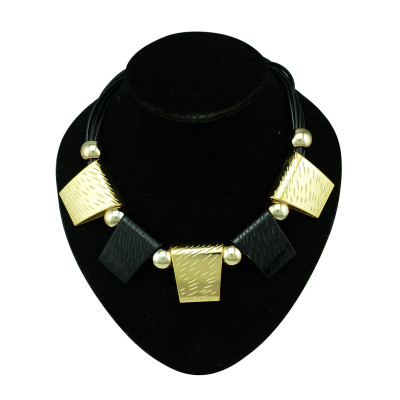 N-5251  Fashion style vintage gold silver plated alloy geometric enamel pendant necklaces