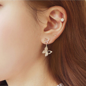 E-3328 korea fashion gold plated rhinestone butterfly Earring