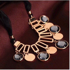 N-5253  European style black crystal tassel necklace female short black ribbon round crystal rose gold female clavicle chain