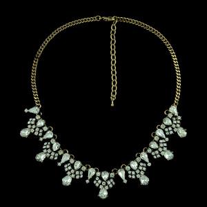 N-5261  European Style Copper Tone Alloy Rhinestone Drop Crystal Choker Necklace