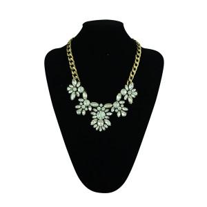 N-5260  European Style Bronze Gem  Tone Alloy Brand Clear Rhinestone Drop Crystal Choker Necklace