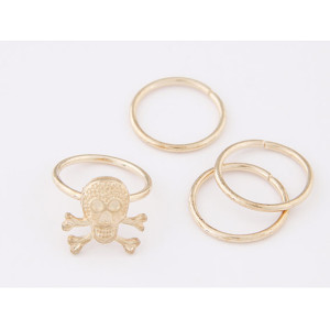 R-1156  New Products Design European Fashion Style Skull Punk Gold Conjoined Ring For Women Costume Jewellry 4pcs/set