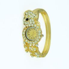 B-0423-PE Hot Sale European Fashion Style Wide Bangle Watch Women Bracelet Charming Peacock Elephant Geometry Rhinestone Bracelets Wristwatch Clock