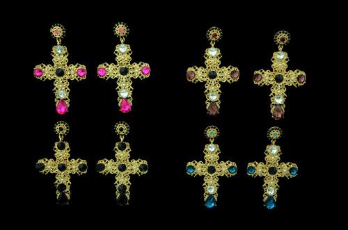 E-3333 Baroque luxury yellow gold plated crystal cross drops earrings pearl flower dangle earrings for women