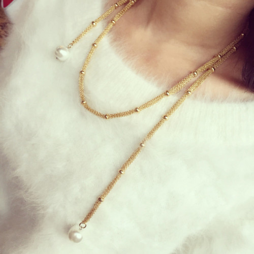 N-5264  European Fashion Jewelry Silver Gold Plated Alloy Figaro Chain White Flat Pearl Pendant Long Necklace