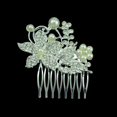 F-0201  bride bridesmaid jewelry 2 style Fashion Korean Style Silver Plated Alloy Rhinestone Pearl Flower Leaf Bowknot Hair Comb