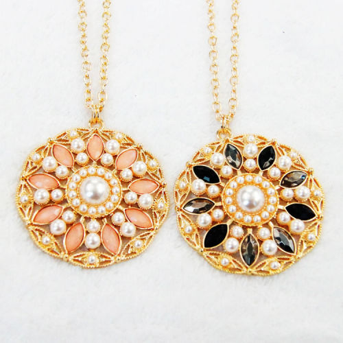 N-5277 new fashion style alloy gold plated long pendant necklace pearl crystal sweater chain