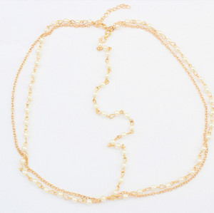F-0200 Europea Style Gold Plated Alloy Pearl Chain Tassels Hairband