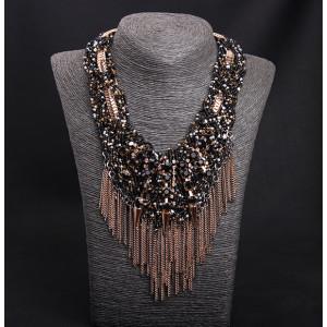 N-5132  Famous Brand golden snake handmade braid black beads chunky chain gemstone resin rivets metal fringe elegant statement necklace