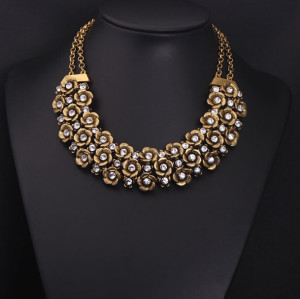New European Style Vintage Gold Crystal Flower Choker Double Chain Necklace N-0057