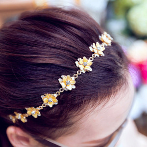 F-0199  Europea Style Gold Plated Alloy Yellow Enamel Rhinestone Flower Rhinestone Hairband