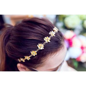 F-0199  Europea Style Gold Plated Alloy Yellow Enamel Rhinestone Flower Rhinestone Hairband