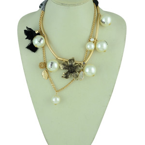 N-5280 European Silk Chain thread Tassels Love Pearl Crystal Leaves Flower Necklace