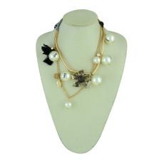 N-5280 European Silk Chain thread Tassels Love Pearl Crystal Leaves Flower Necklace