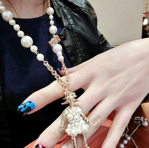 N-5284 European fashion style Gold Plated Pearl Chain Bowknot Girl Pendant Necklace sweater chain
