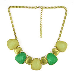 N-0772 Candy Colors Gold Plated Metal Handmade Acrylic Choker Necklace