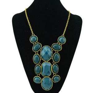 N-0777 Vintage Style Color Choose Resin Acrylic Gem Statement Choker Bib Necklace