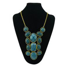 N-0777 Vintage Style Color Choose Resin Acrylic Gem Statement Choker Bib Necklace