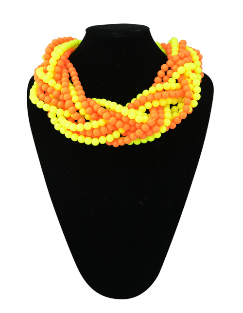 N-1022 New Style 4 Colors Option Heavy Bohemia Multilayers Beads Weave Chains Statement Necklace