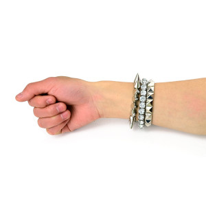 New European Punk Style 3PC/Set Gold/Silver Plated Strechable Crystal 2 Rivets  Bracelet  B-0014