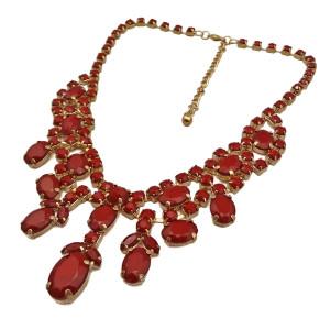 N-0252 Fashion Gold Metal Resin Gem Stone charming Choker Bib Necklace for Spring