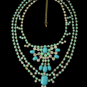 New Fashion Style Gold Plated Alloy Nobel Rhinestone 5 colors multilevel Resin Flower Necklace N-0280