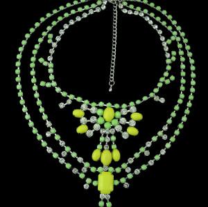 N-0279 2015 Style Nobel  Rhinestone 5 colors multilevel Resin Chains Necklace N-0279