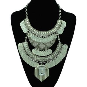 N-5292 European Vintage Style Carving Flower Moon Coin Tassels Crystal Necklace