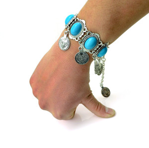 B-0433  European vintage retro style alloy botique silver plated turquoise fashion bracelet bangle