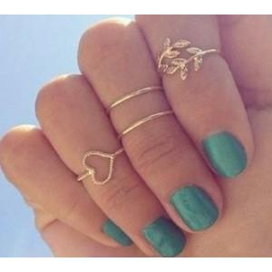 R-1164 fashion style peach Heart-shaped rhinestone ring  4pcs/set leaves ring