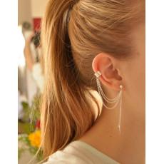E-3373 Trendy Leaf Tassel Chain Ear Cuff Gothic Punk Style Gold Silver Plated Ear Clip Earring Women Fashion Jewelry