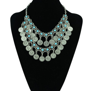 N-5308 Bohemian style silver layered blue gem stone clovers coin tassel handmade collar statement necklace,turkish,boho,zamac jewelry