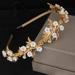 F-0204 European Fashion show gold broque white flower rhinestone  hairband  accessories hairpin  wedding gift