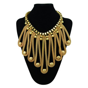 N-5293 Bohemian fashion style luxury gold plated alloy link chain long tassel ball statement necklace for women jewelry