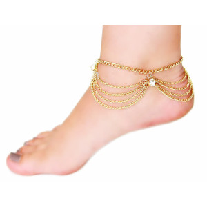 B-0430 fashion style beach vacation essential alloy multi-level rhinestone gold plated anklet
