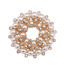 P-0158 European Fashion Jewelry Rhinestone Pearl Brooch Gold plated Flower Brooches For Wedding Bouquets Christmas Gift