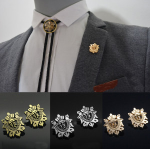 P-0164 fashion gold/silver/bronze 3 color shield collar brooch pin jewelry