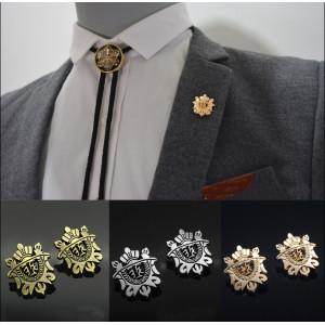 P-0164 fashion gold/silver/bronze 3 color shield collar brooch pin jewelry