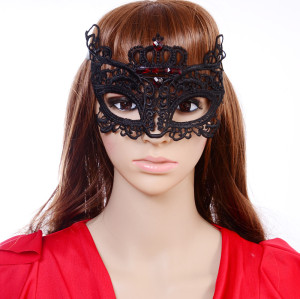 N-5295 New Gothic Black Silk Needle Lace Chain Hollow Out Flower Red Stone Crystal Mask