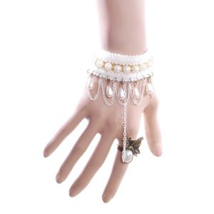 B-0437  Vintage Slave Bracelet ring handmade lace bracele,Gothic bronze alloy white black pearl bead charm women statement bracelet