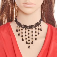 N-5296 Hot Vingate Bronze Black Beads Lace Necklace Charms Long Tassel Choker Necklace