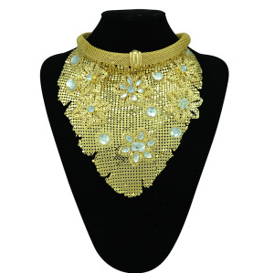 N-5298 fashion style alloy gold plated fish scale choker flower rhinestone necklace