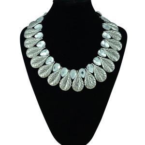 N-5301 European style vintage silver print leaves flower crystal drop stone luxury statement bib necklace
