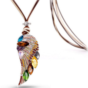 N-5300 European style multilayer Chain Crystal Rhinestone Colorful Wing Pendant Brooch Necklace
