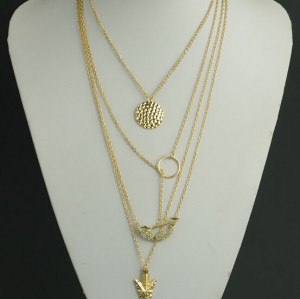 N-5299 European Style alloy gold plated Tassels  Arrow wings  Necklace