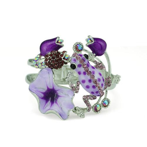 B-0429 Vintage Lady Bangle Silver Plated Rhinestone Flower Fashion National Style Enamel Glaze Frog Cuff Bangle Bracelet For Women