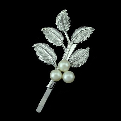 F-0206 Korean style Silver Gold Plated Leaf Pearl Hair Clip