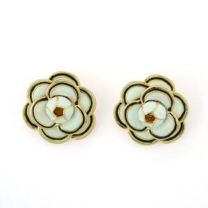 E-3383 Fashion Style Gold Plated Alloy Enamel Flower Earrings Ear Stud